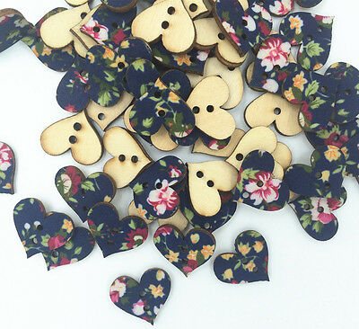 DIY  200 pcs pasted cloth Mixed Wood Sewing Buttons Heart 2 Holes Painted 18mm