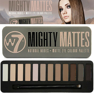 W7 Mighty Mattes EyeShadow Palette 12 Colores Browns Nude Smokey Primer Blend