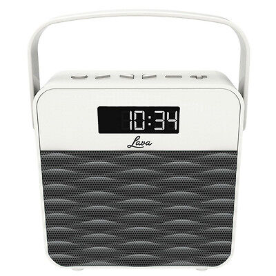 New Lava Portable FM Radio Charcoal With Large LCD Clock Display & 10 Pre-Sets