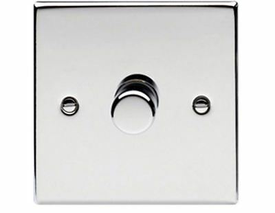 Polished Chrome Effect Single Dimmer Switch 1 gang 2 way 400W