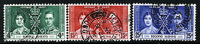 HONG KONG King George VI 1937 Coronation Complete Set SG 137 to SG 139 VFU