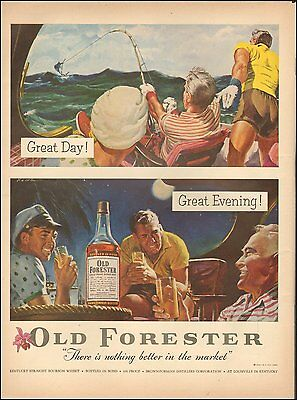 1954 Vintage whiskey AD OLD FORESTER Bourbon deep sea sport fishing  (090316)