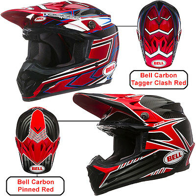 Bell Moto 9 Carbon Pinned / Tagger Clash Motocross Mx Enduro Offroad Helmet Red