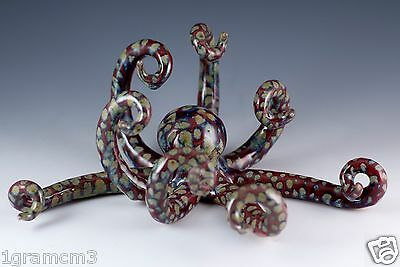 """Unique Hand Crafted Ceramic Clay Spotted Octopus Figurine 8.5"""" Wide By 3"""" High"""