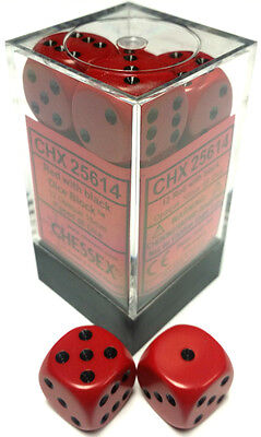Chessex Dice: Opaque 16mm D6 Red/Black (12) CHX 25614