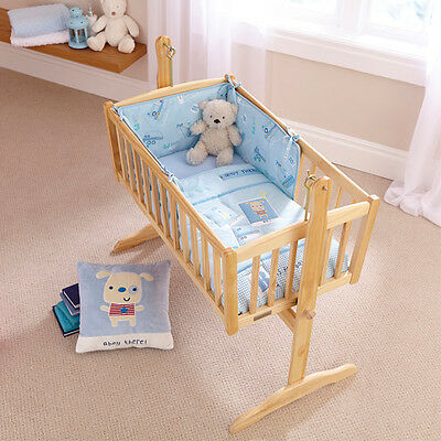 Clair de Lune Ahoy 2 Piece Crib Quilt & Bumper Bedding Set, Blue