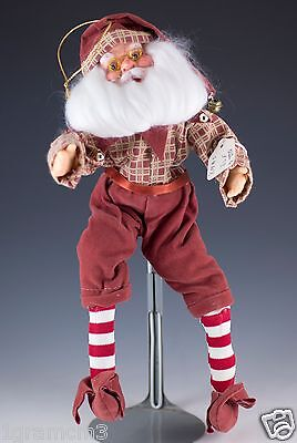Vintage Hanging Christmas Elf Doll With Beard & Glasses Wire Arms & Legs 10""