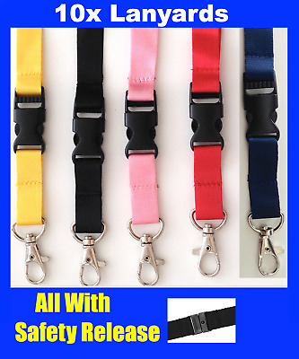 10x Lanyards with Safety Release Breakaway Clips Neck Strap for Badge ID HOLDERS