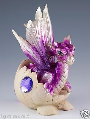 """Purple Baby Dragon Hatching From Egg With Gem Hatchling Figurine 5.25"""" Resin NIB"""