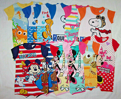 Disney nemo,minnie mouse or snoopy baby summer romper/babygrow.3,6,9,12,18mths.