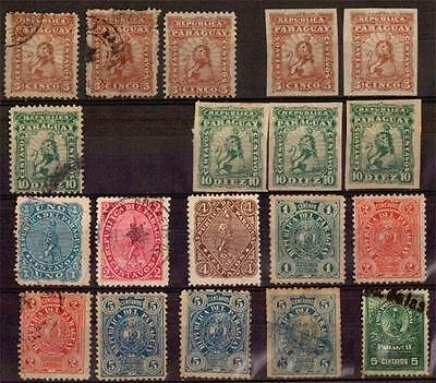 PARAGUAY classic stamps lion & phrigian hat used and mint