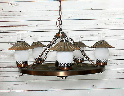 Vintage western 24 wagon wheel chandelier ceiling light 5 arm vintage western 24 wagon wheel chandelier ceiling light 5 arm light fixture aloadofball Image collections