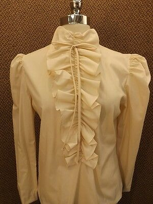 Vtg '60s New NOS Ivory Tan Ruffle Front Priarie Blouse Shirt M Back Button Down