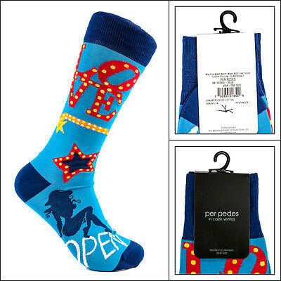 Men/'s PER PEDES The Traditionalist Steel Blue Mercerized Cotton Socks NWT $32