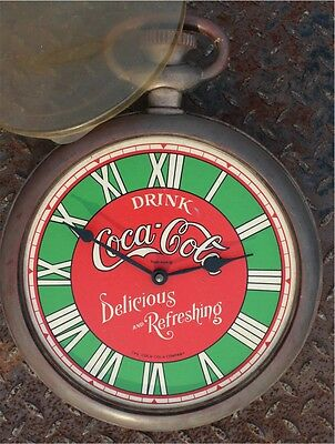 Vintage Coca Cola Wall Clock Mirro Products USA Pocket Watch Shape