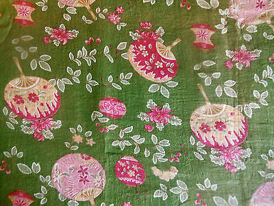 Antique Chinoiserie Floral Lantern Fan Light Cotton Fabric ~ Green Pink