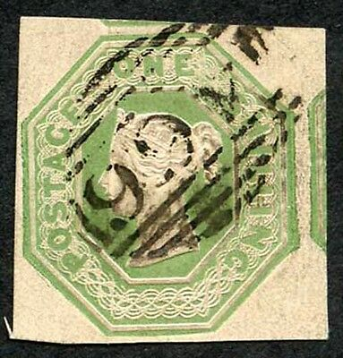 SG55 1/- Green Embossed Fine used Cat 1000 pounds