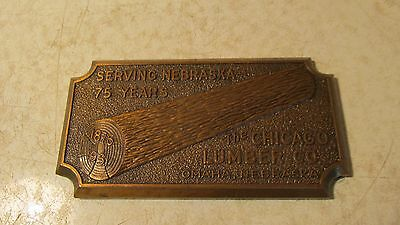 1951 Cast Brass Paperweight Chicago Lumber Omaha Nebraska