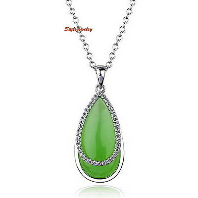 18k White Gold Plated Made with Swarovski Crystal Jade Teardrop Necklace N22