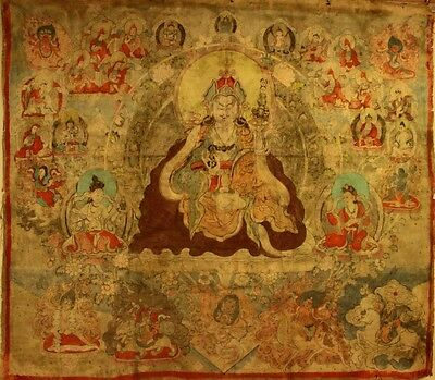 "@Big 19th Old Antique Tibetan Tibet Temple Thangka Tangka ""Padmasambhava"" 63"" @"