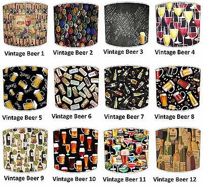 Lampshades Ideal To Match Vintage Retro Beer Spirit Wine Cushions & Wallpaper