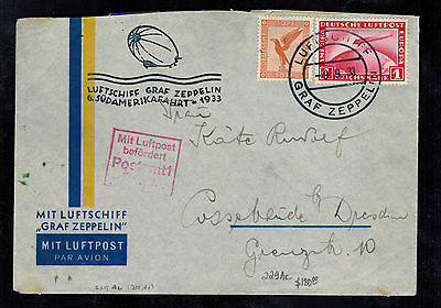 1933 Germany Graf Zeppelin Airmail Cover LZ 127 to Dresden 6th SAF