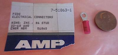 50 Count  #6 Amp Tyco Red 51863 Ring Tongue PDIG Terminal Nylon 7-51863-1 (a)