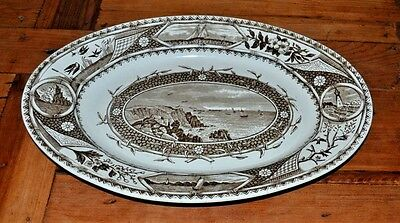 GW Turner & Sons Phileau  Platter 1880 Brown Transferware Sailing