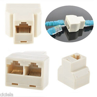 2Pcs Cable Network Plug 1-2 Internet Adapter RJ45 Splitter Converter Connector