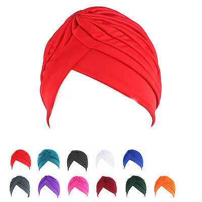 Women's Chemo Pleated Pre Tied Head Cover Up Knit Bonnet Sun Turban Cap