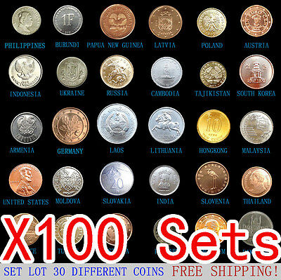 100 Set Lot Pack 30 PCS Coins From 30 Foreign Countries,Most UNC, FREE SHIPPING