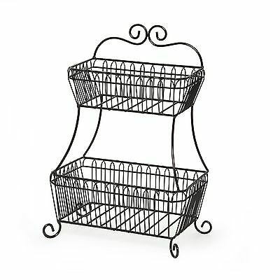Gourmet Basics by Mikasa French Countryside 2-Tier Flat back Basket Black