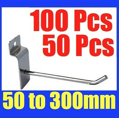 BULK Slatwall Hooks 50mm To 300mm Slat Wall Grooved Panel Hook 3.2MM