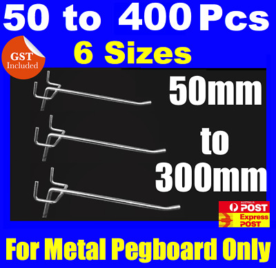 BULK Metal Peg Board Hooks 50mm To 250mm Pegboard Grooved Panel Hook
