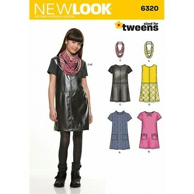 New Look Girl's Dress or Jumper and Scarf Sewing Pattern 6320