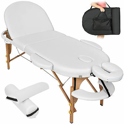 Massageliege Massagetisch Massagebank 3 Zonen Reiki oval + Rollen Set 3 weiß