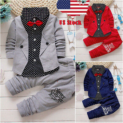 2pcs Toddler Baby Boys Kids Shirt Tops  Long Pants Clothes Outfits Gentleman Set