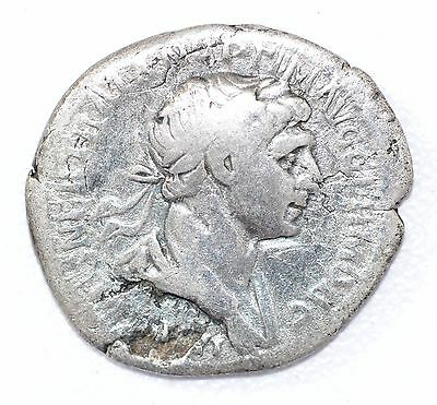 AUTHENTIC TRAJAN ROMAN COIN, AR Silver Denarius, Rv. Fortuna - A875