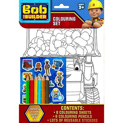 New Bob The Builder Colouring Set 8 Sheets 6 Pencils And Reusable Stickers Party