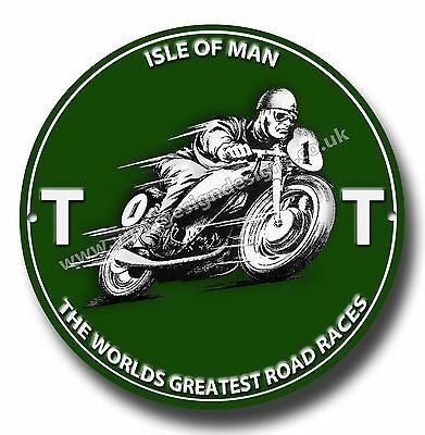 I.o.m Tt The Worlds Greatest Road Races Round Metal Sign.motorcycle Road Racing.