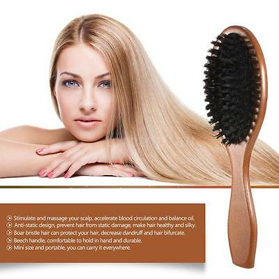 Natural Boar Bristle Oval Hair Brush Comb Scalp Massage Beech Wooden Handle O4C6