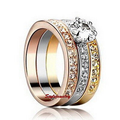 Three Tone Gold Plated Made with Swarovski Crystal Wedding Engagement Ring R4