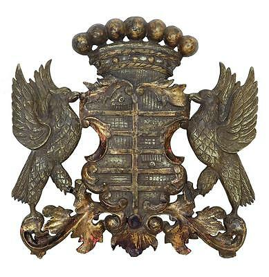 20Th Century Decorative Gilt Carved Wood Coat Of Arms