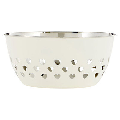 20cm Ivory Hearts Fruit Bowl Large Stainless Steel Storage Holder Container Dish
