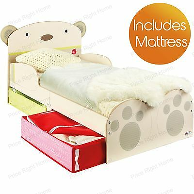 Snuggle Time Bear Hug Toddler Bed With Storage & Deluxe Mattress New