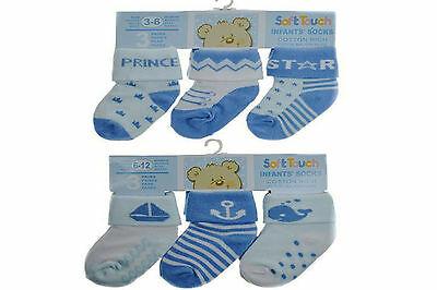 New Baby Boy 3 Pack Blue Socks by Soft Touch (prince or seaside) 0-12 months