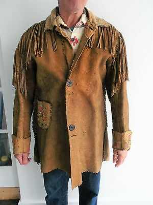 Antique Minnesota Sioux Metis Embroidered Moose Hide Fringed Jacket