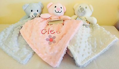 Personalised Embroidered Luxury Teddy Bear Newborn Baby Comforter Blanket Gift