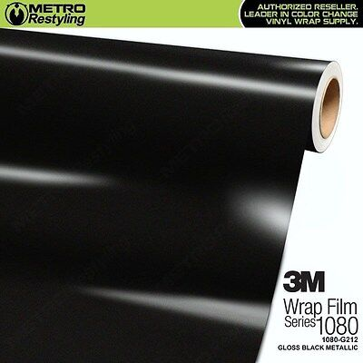 3M 1080 G212 GLOSS BLACK METALLIC Vinyl Vehicle Car Wrap Decal Film Sheet Roll