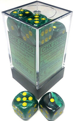 Chessex Dice: Vortex 16mm D6 Malachite Green/Yellow (12) CHX 27655